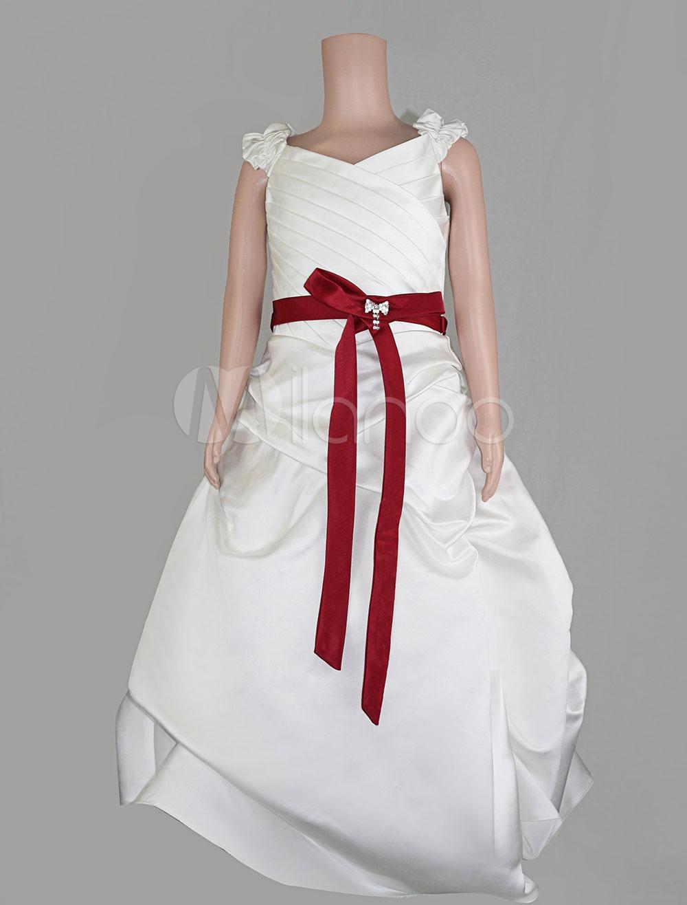 7c5fe978810 Robe fille Ivoire fleurs avec ceinture rouge et Bow - boutique.milanoo