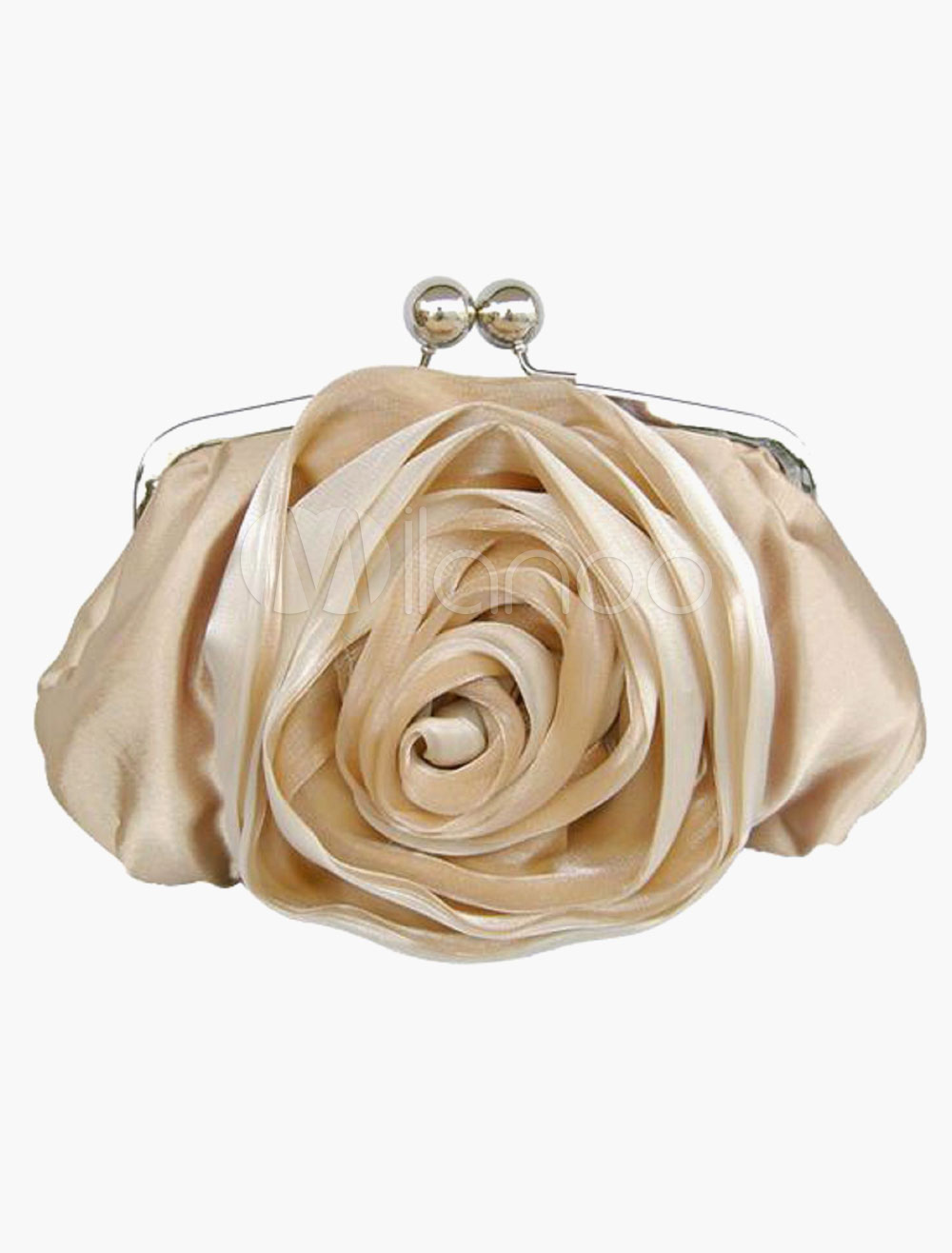 Classic Rose Flower Evening Bag in 6 Colors Detachable Chain