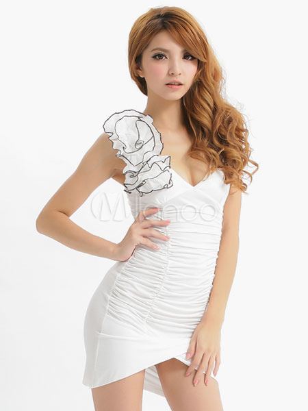 Buy Halloween White Ruched Polyester Sexy French Maid Costume For Women for $17.84 in Milanoo store