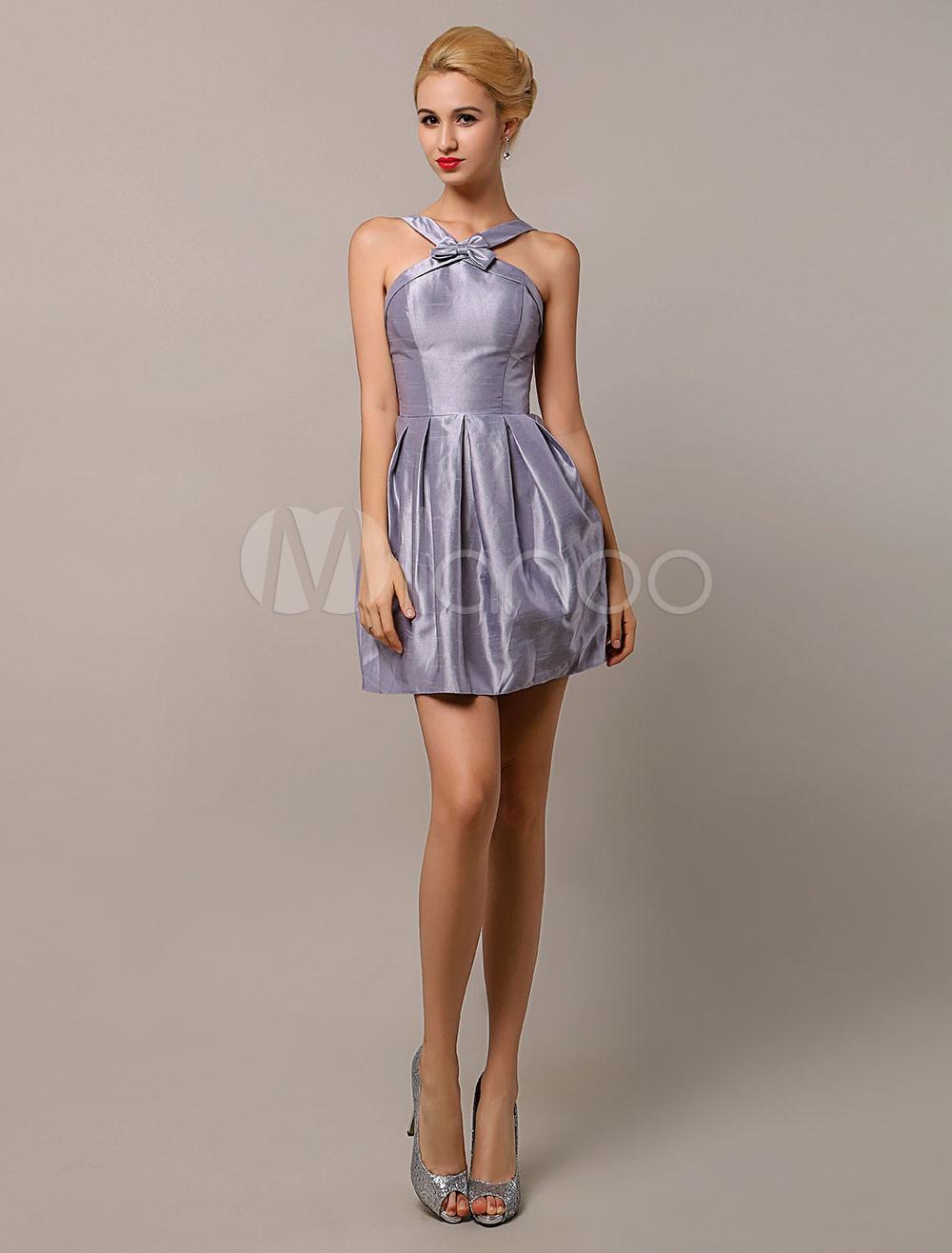 Buy Silver Gray Bridesmaid Dresses Ruched Satin Taffeta Bridesmaid Dress With V Neck Milanoo for $109.99 in Milanoo store