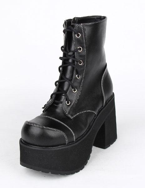 Botas de tacón negro PU cuero Lolita para niñas azXX8Wfrdc
