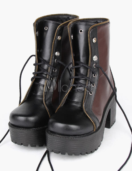 Brown PU Platform Lolita Boots for Girls