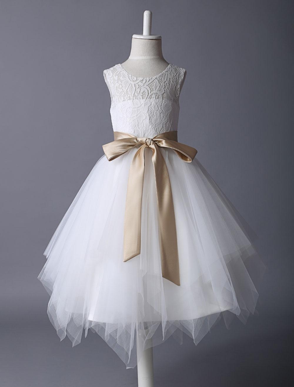 Flower Girl Dress Lace Ivory Tutu Dress Satin Ribbon Bow Sash Illusion Kids Party Dress