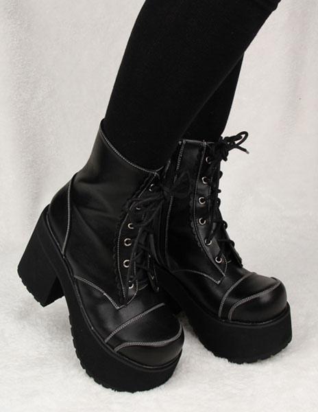 Botas de tacón negro PU cuero Lolita para niñas YX1EvD