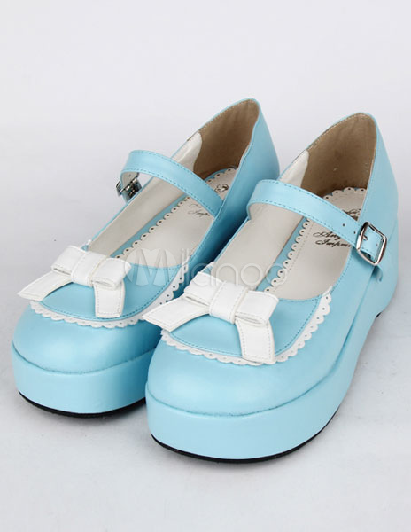 Zapatos de fiesta Lolita de PU azul para niñas cgnWybAD