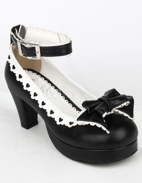 Zapatos Mate Negro Lolita Tacones Gruesos Zapatos Blanco Trim Lazo Tirantes de Tobillo Hebilla GJ5nd