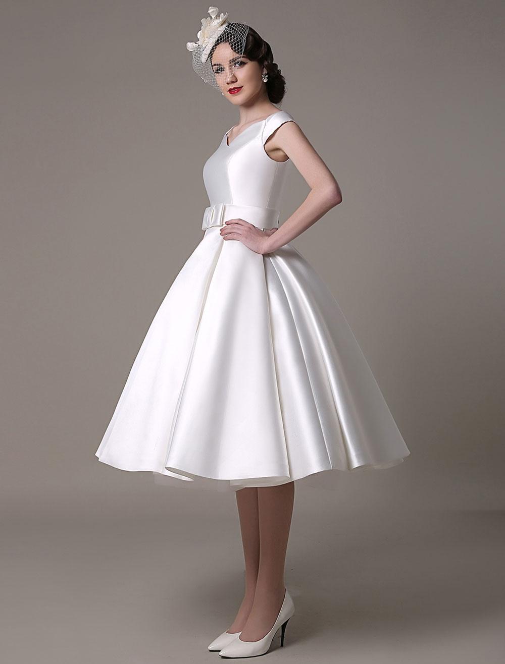 Ivory Wedding Dress Bateau Knee-Length Sash Satin Wedding Gown Milanoo