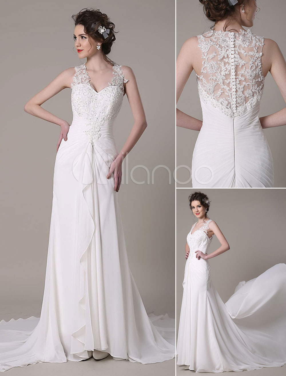 Ivory Wedding Dress Mermaid Queen Anne Lace Chiffon Wedding Gown Milanoo