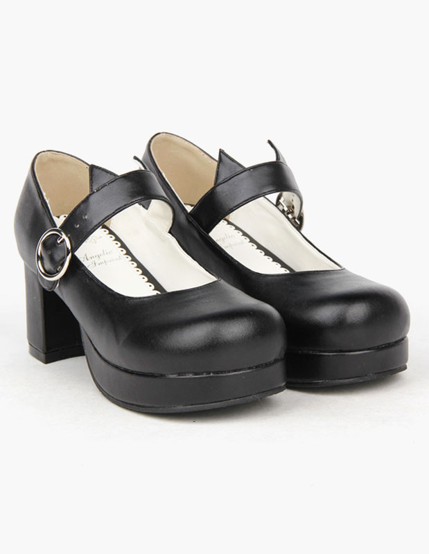 Black Round Toe PU Lolita Shoes for Girls