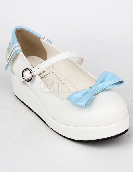 Luz azul arco PU zapatos de plataforma Lolita para niñas CjGMu