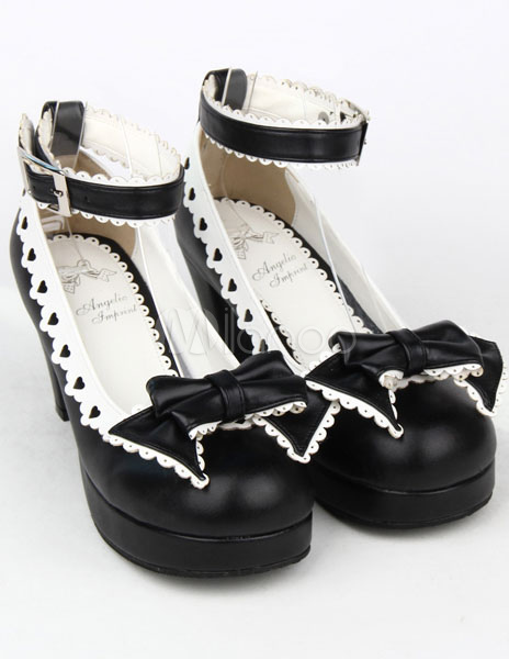 Milanoo / Matte Black Lolita Chunky Heels Shoes White Trim Bow Decor Ankle Strap Buckle Round Toe