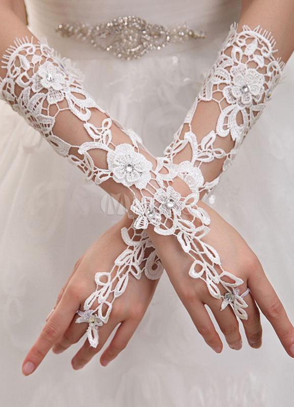 Ivory Lace Elbow length Wedding Gloves