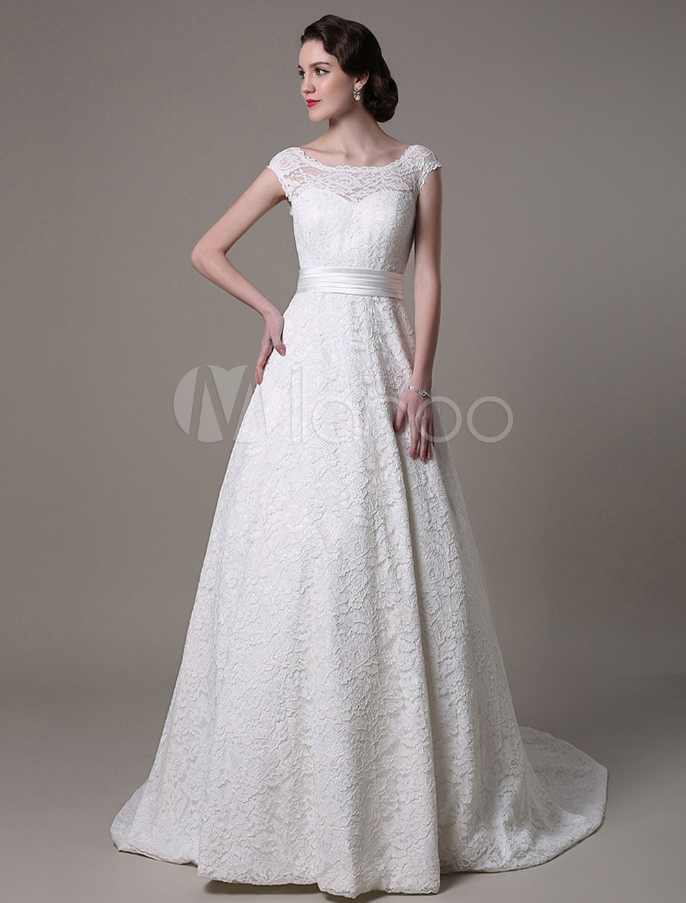 Ivory Wedding Dress Bateau Neck Backless Lace Tulle Wedding Gown Milanoo