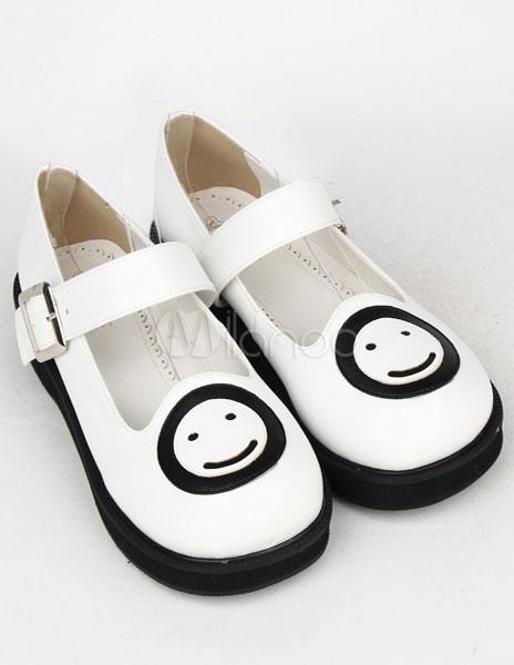 Blanco PU plana Lolita zapatos para niñas xTApY9m30