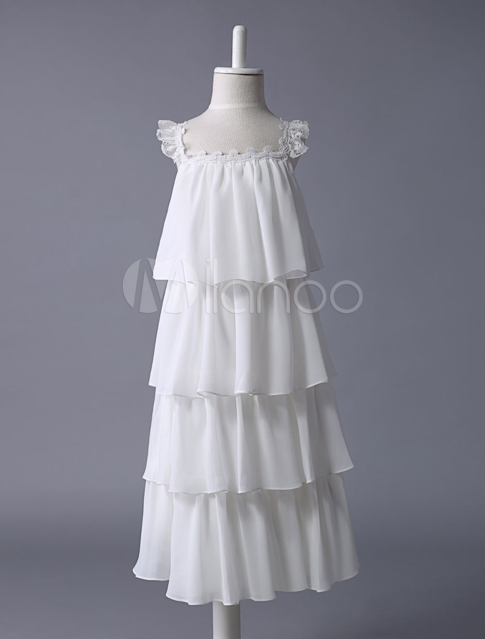 Buy Flower Girl Dress Boho Tiered Ivory Tiered Lace Chiffon Wedding Kids Party Dress for $66.59 in Milanoo store