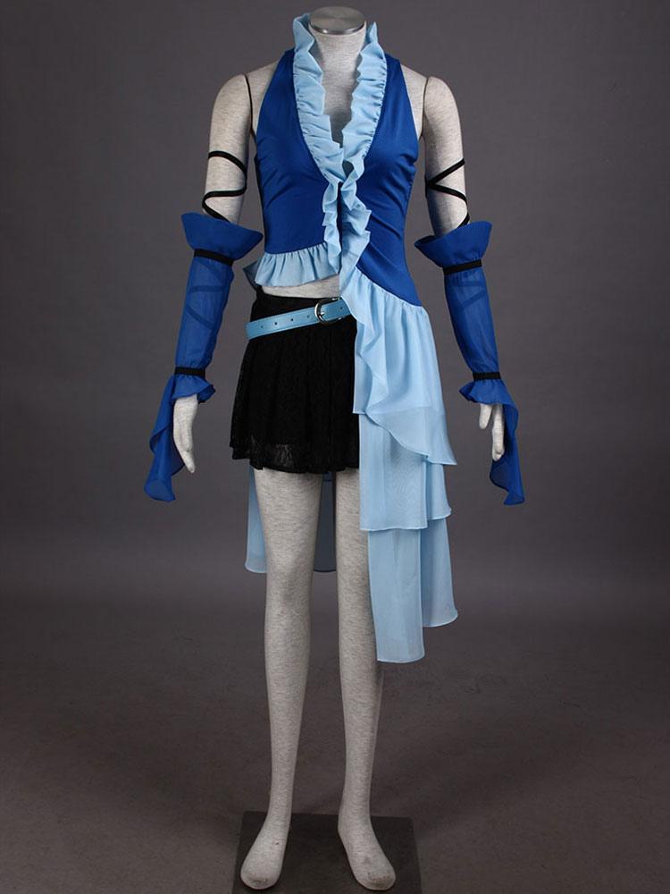 Final Fantasy Ruffles Mesh PU Cosplay Costume  Halloween