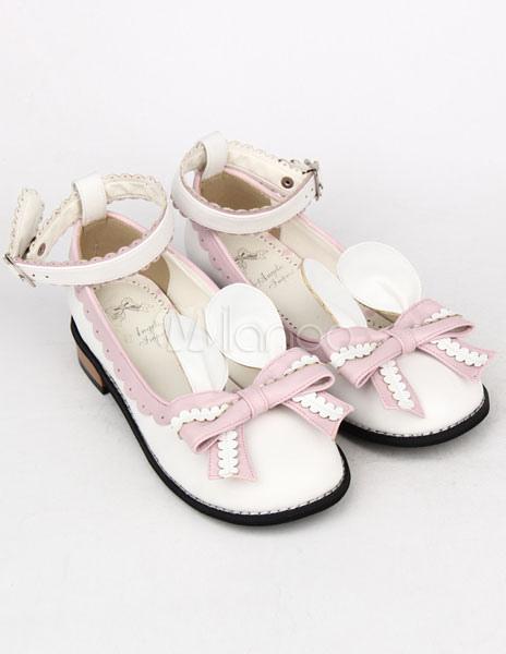 Pajarita rosa luz PU Lolita zapatos para niñas vZNYyogu