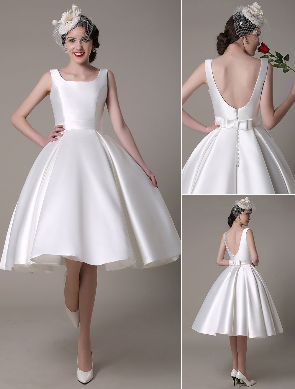 Ivory Wedding Dress Scoop Backless Knee Length Satin Wedding Gown