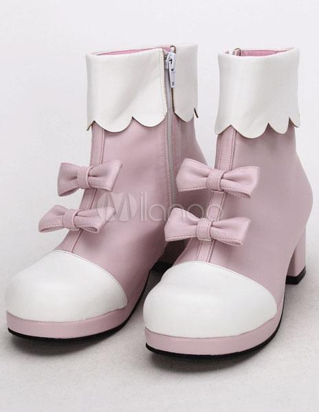 Pajarita rosa luz PU Lolita zapatos para niñas PMCUYj