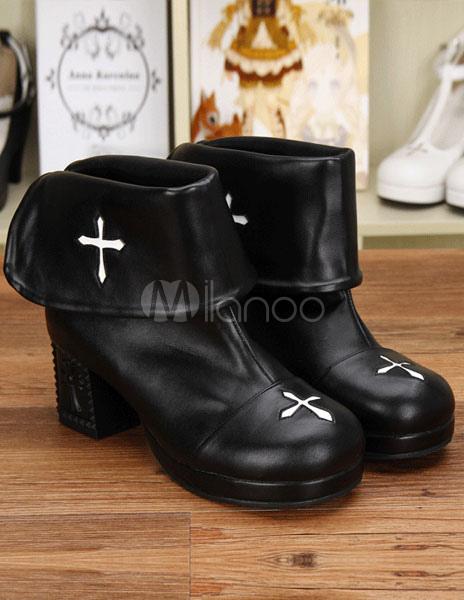 Botas de tacón negro PU Lolita para niñas wKQINR