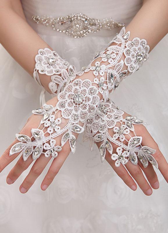 Ivory Fingerless Lace Bridal Wedding Gloves