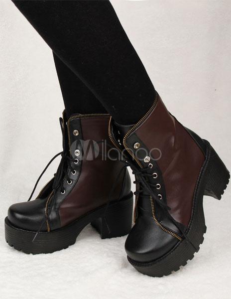 Marrón PU Lolita botas para niñas DhLvBSbgHy