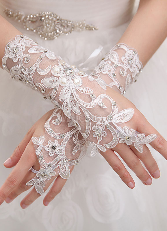 Ivory Lace Fingerless Bridal Wedding Gloves