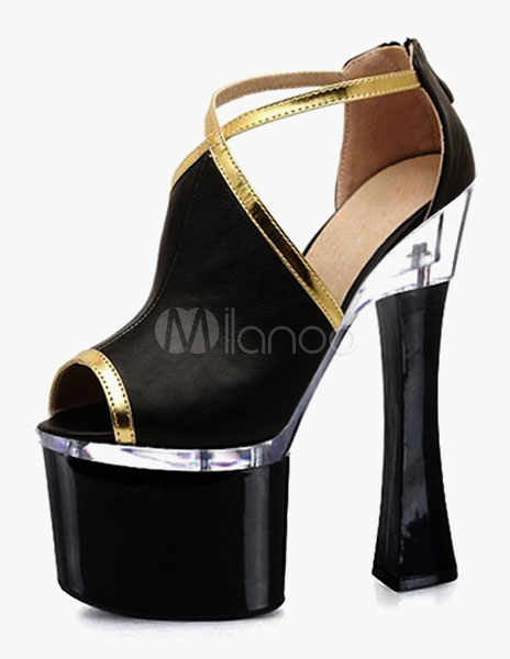 Black PU Platform Dress Sandals For Women
