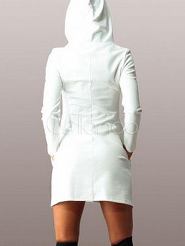 reputable site 24da3 bb3fb cappuccio poliestere per donna Abito con felpa bianco qFHA1I