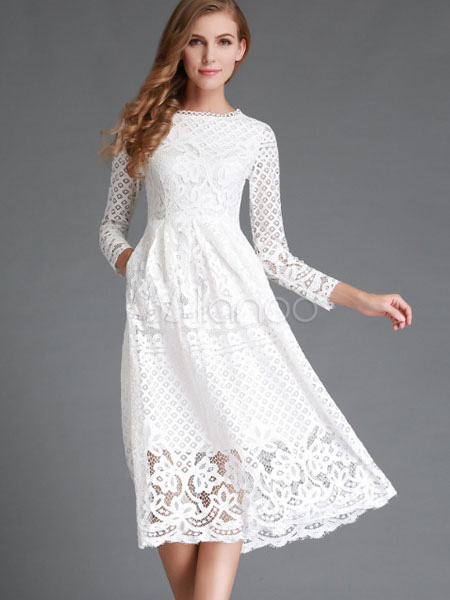 cc211bff939b White Lace Dress Long Sleeve Flared Dress For Women - Milanoo.com
