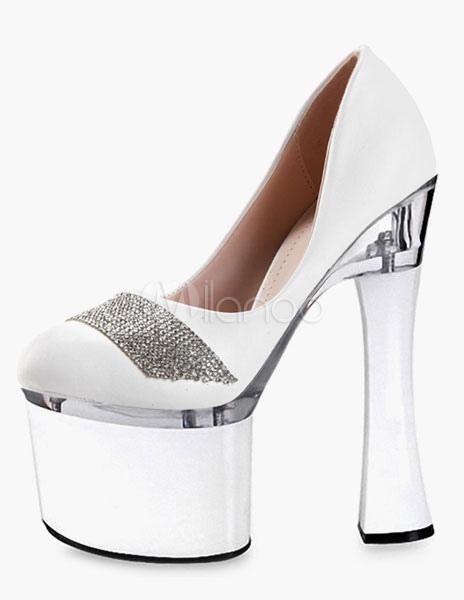 Escarpins à plateforme talons verre à pied cuir perforé fait main avec  strass -No.