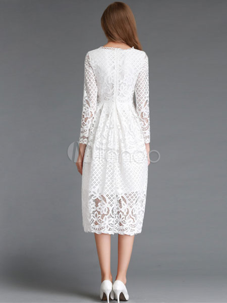 53cbf277501 White Lace Dress Long Sleeve Flared Dress For Women - Milanoo.com