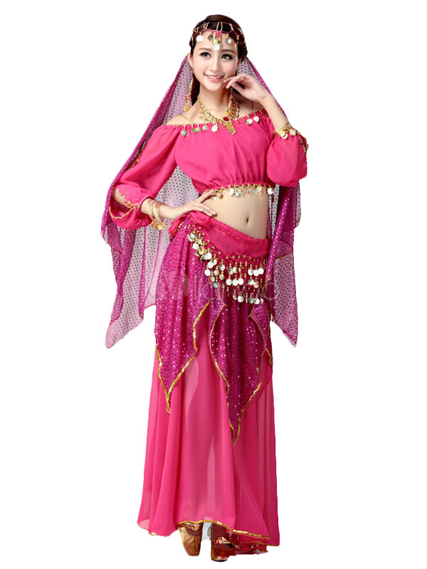 Belly Dance Costume Rose Red Chiffon Bollywood Dance Dress