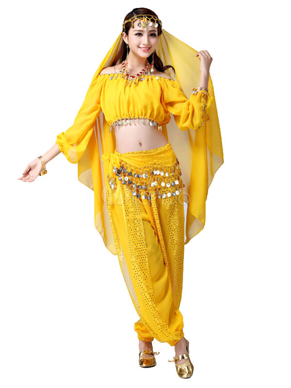 5774b749790a Belly Dance Costume Purple Off the Shoulder Chiffon Bollywood Dance Dress  for Women-No.