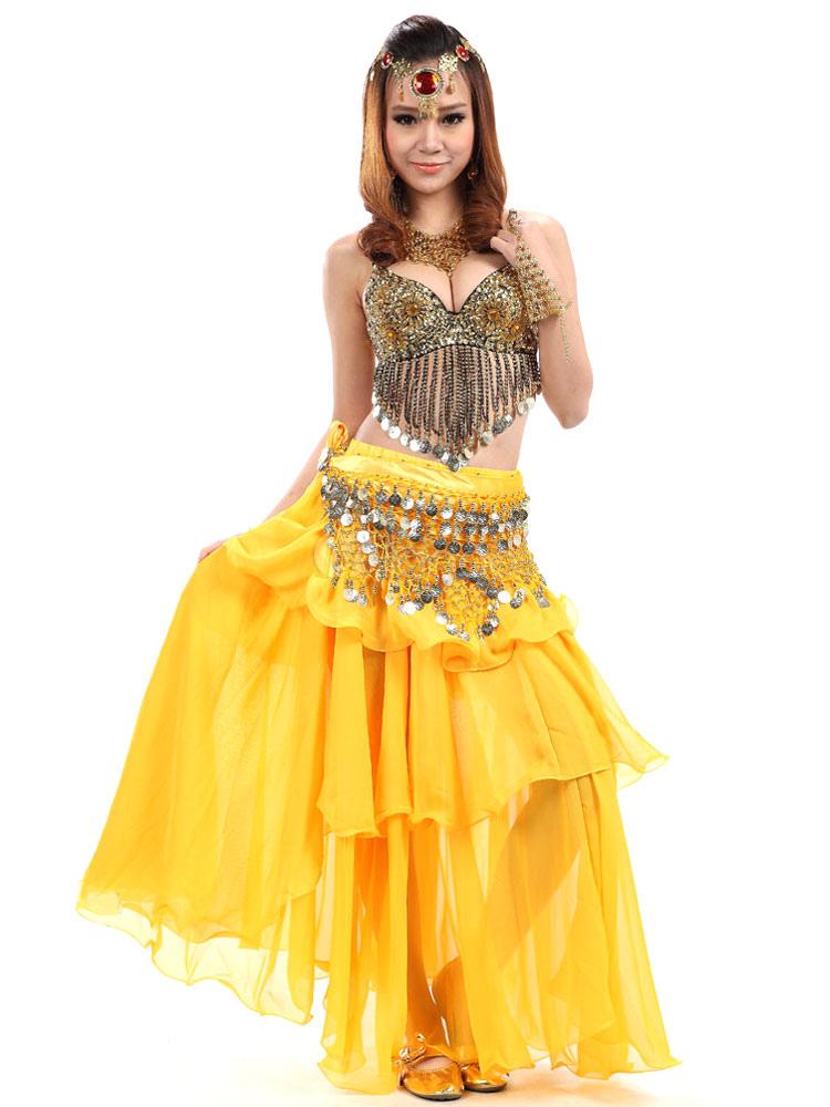 Belly Dance Costume Yellow 3 Piece Chiffon Bollywood Dance Dress for Women