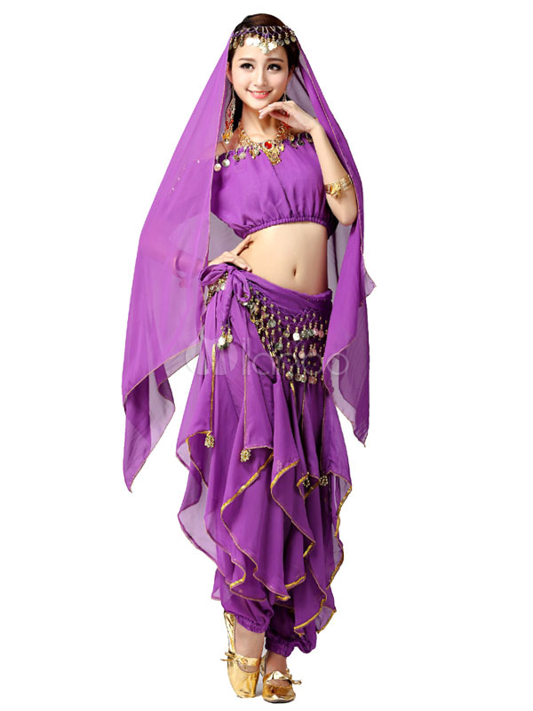 951cc13d6568 Belly Dance Costume Red Off the Shoulder Chiffon Bollywood Dance Dress for  Women-No.