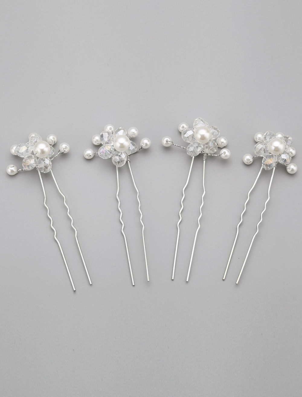White 4-Piece Pearl Wedding Hairpin