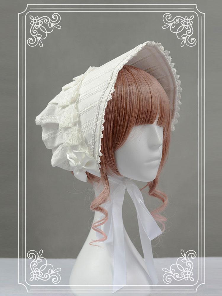 White Vinatge Bows Cotton Lolita Hat