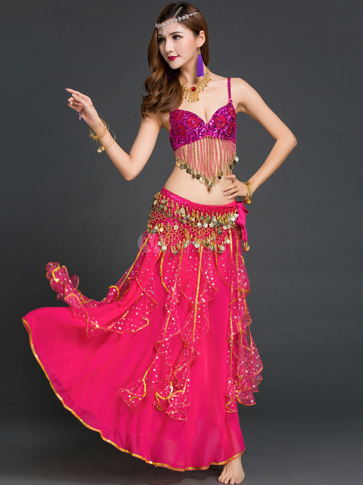 Belly Dance Costume Rose Red 3 Piece Chiffon Bollywood Dance Dress for Women