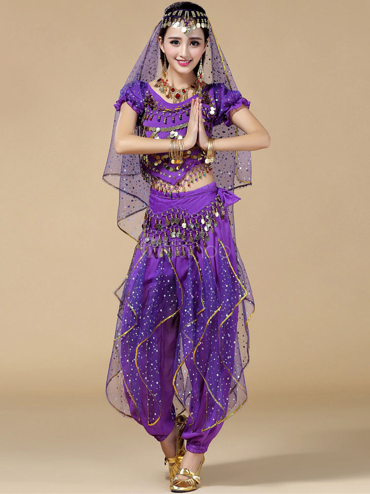Belly Dance Costume Purple 3 Piece Chiffon Bollywood Dance Dress for Women