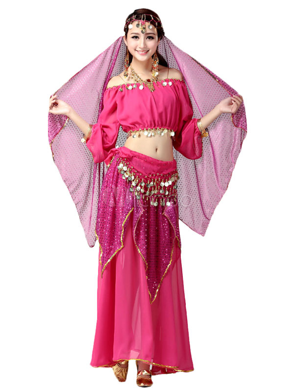 Belly Dance Costume Rose Red Chiffon Bollywood Dance Dress for Women