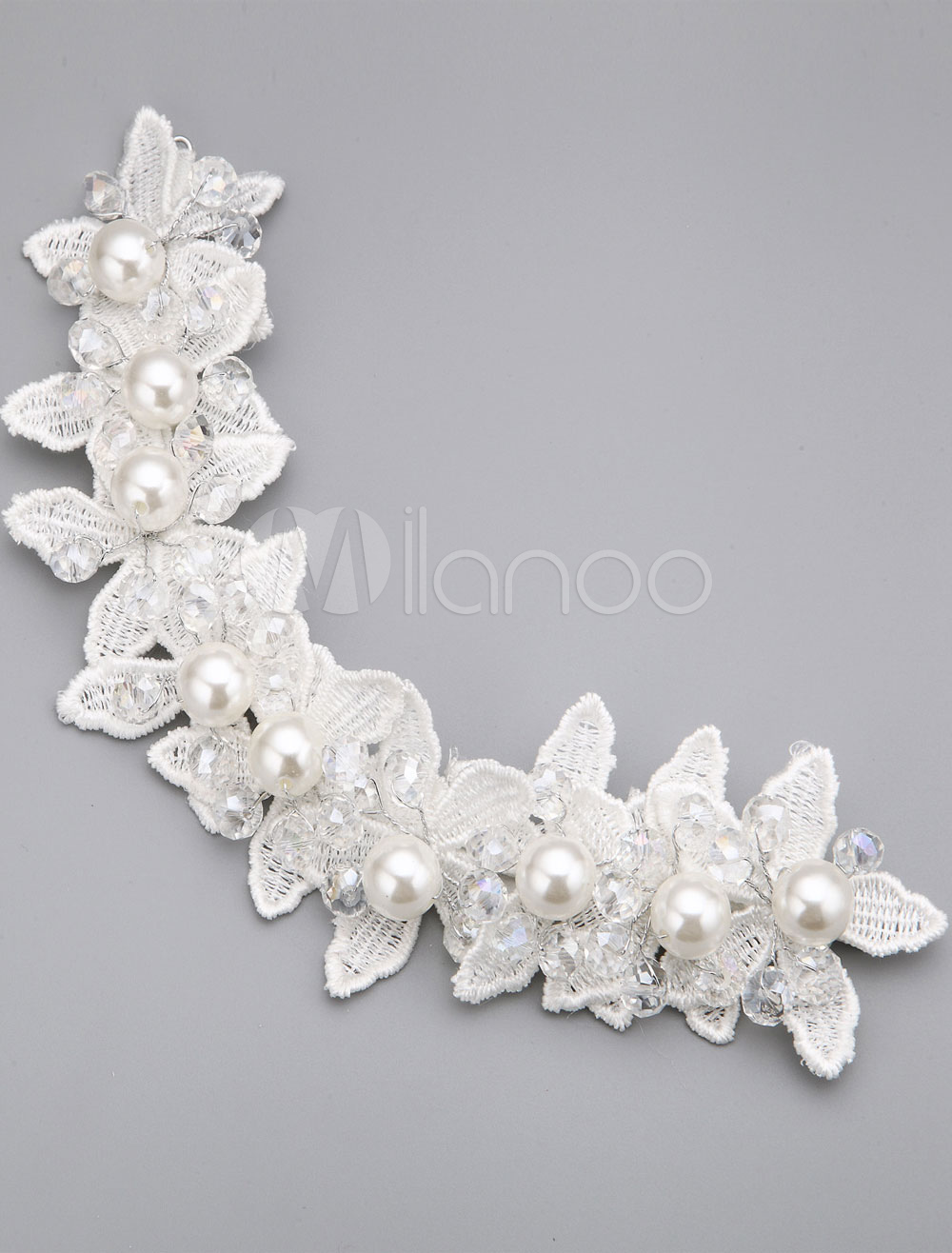 White Lace Pearl Head Flower for Wedding