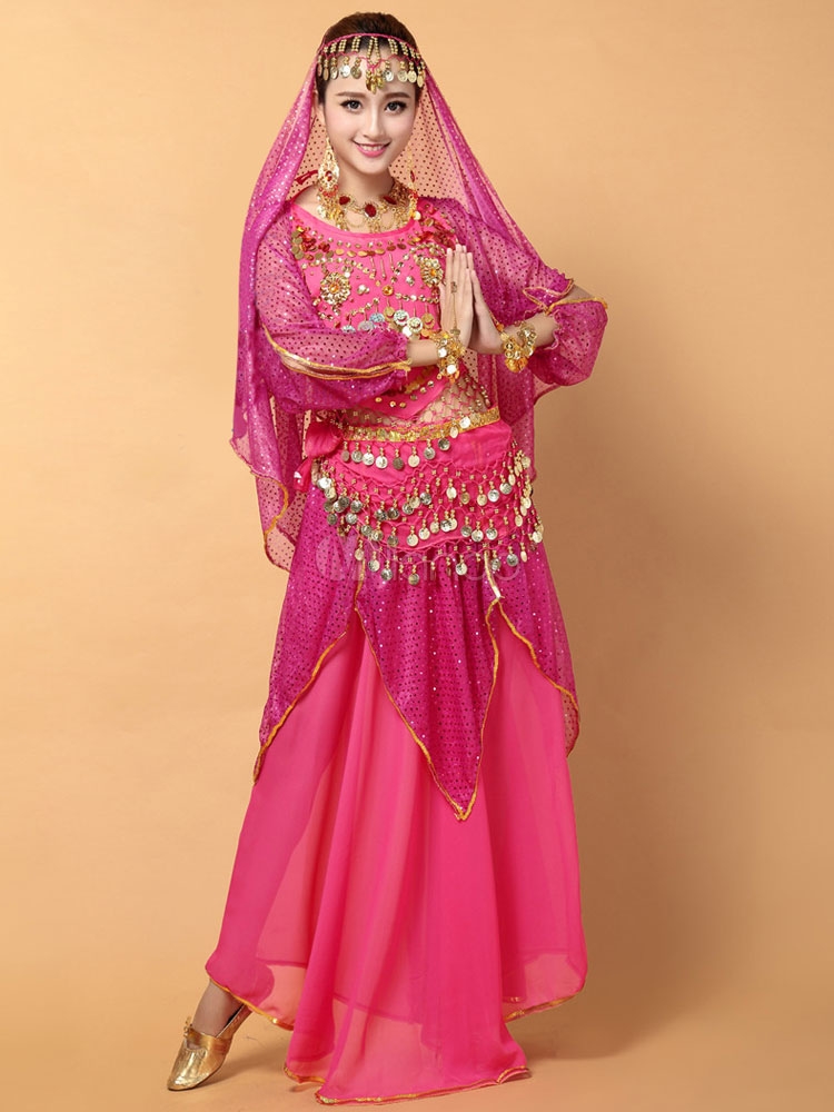 Belly Dance Costume Sexy Rose Red Chiffon Bollywood Dance Dress for Women