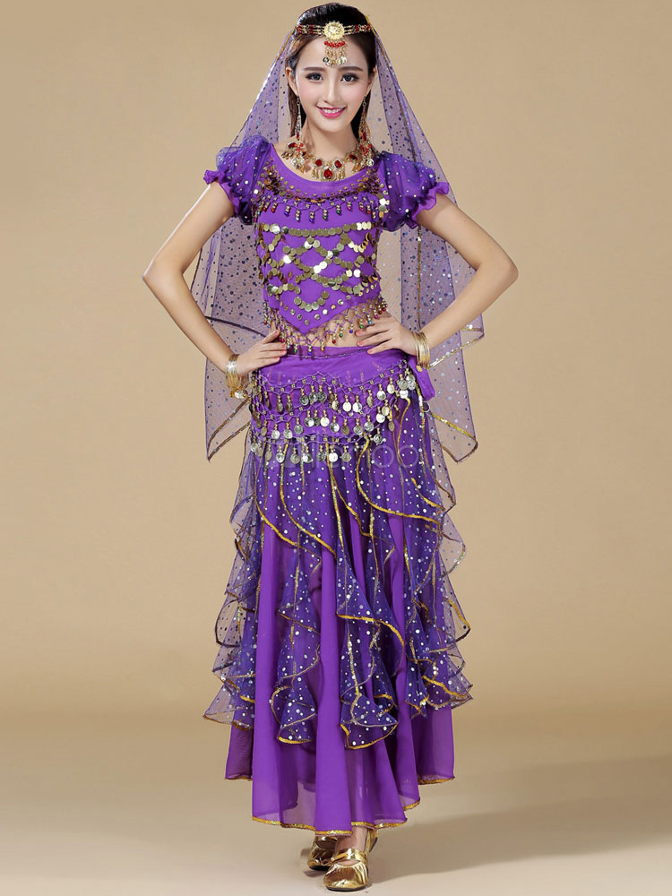 Belly Dance Costume Purple Sexy Chiffon Bollywood Dance Dress for Women