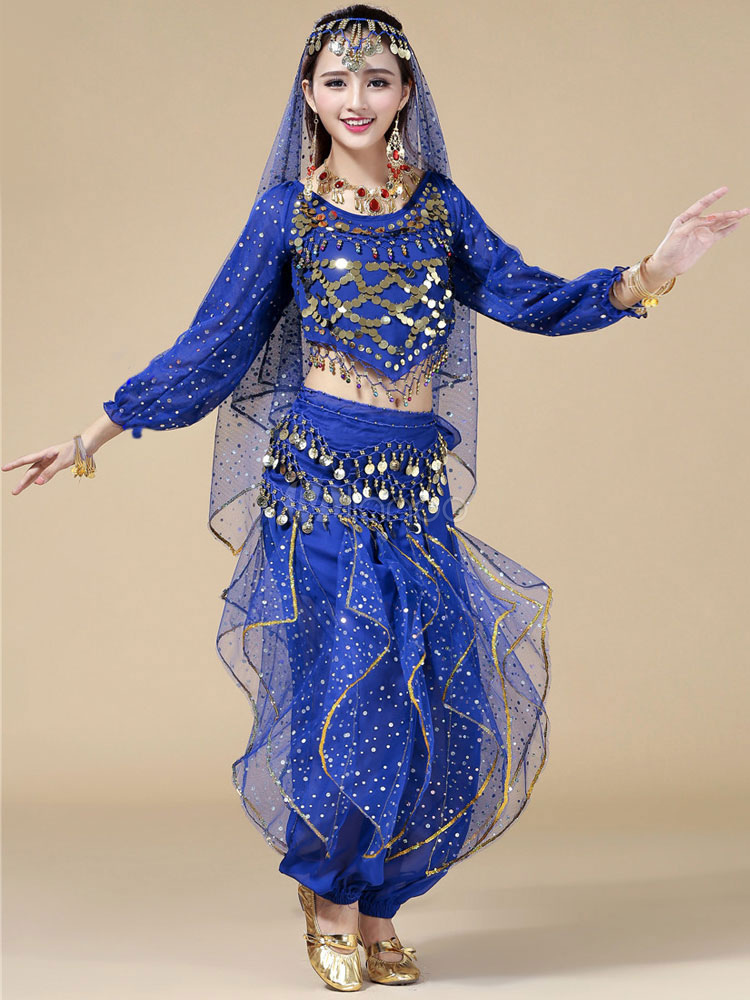 Belly Dance Costume Deep Blue Chiffon Bollywood Dance Dress in 3 Piece for Women