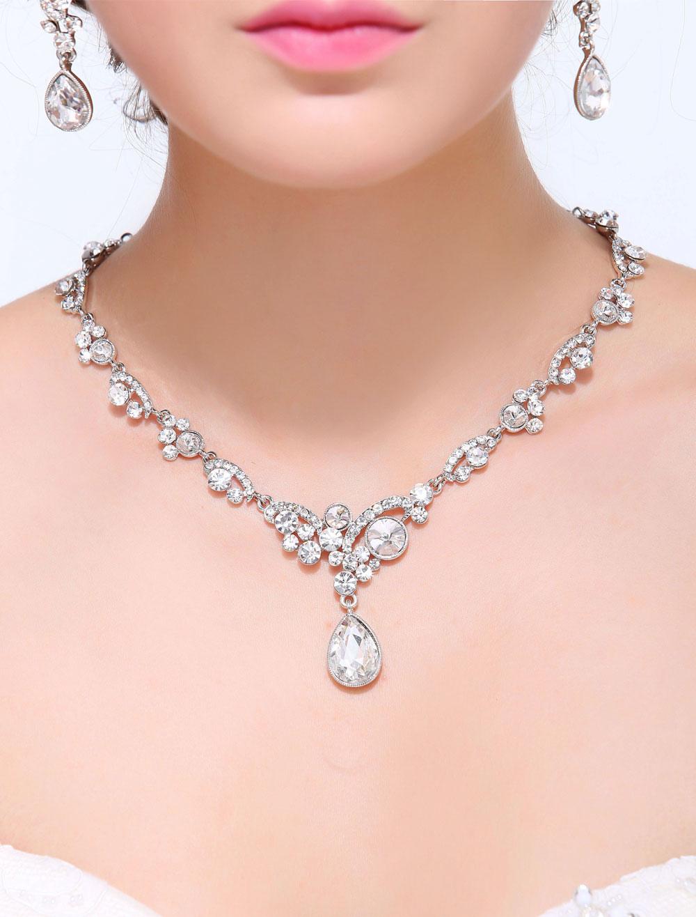 Silver Alloy Wedding Drops Necklace Earrings