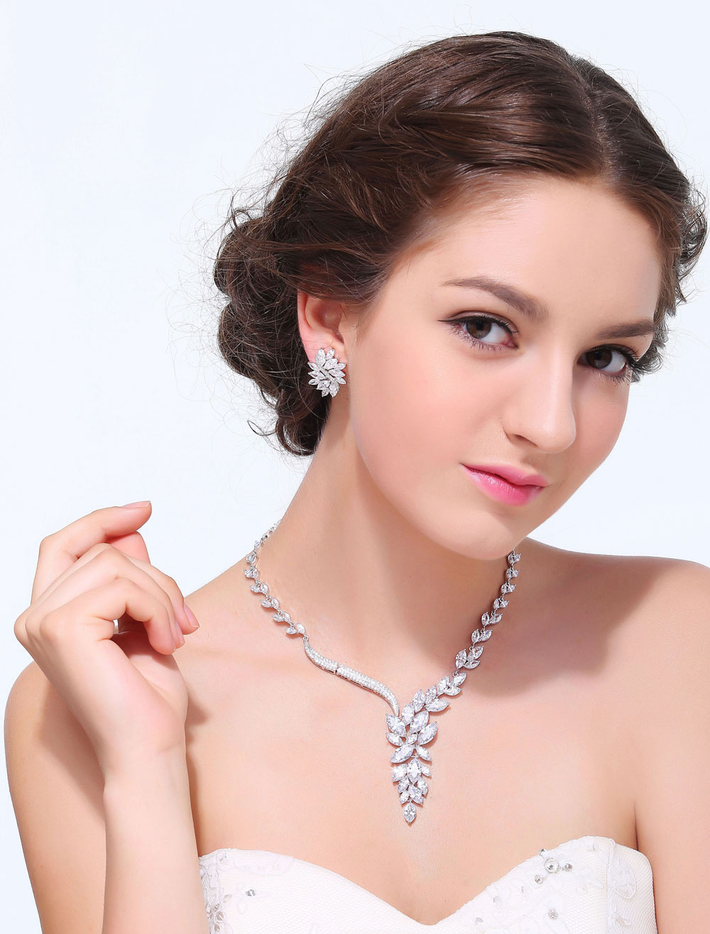 Silver Flower Alloy Wedding Jewelry Set