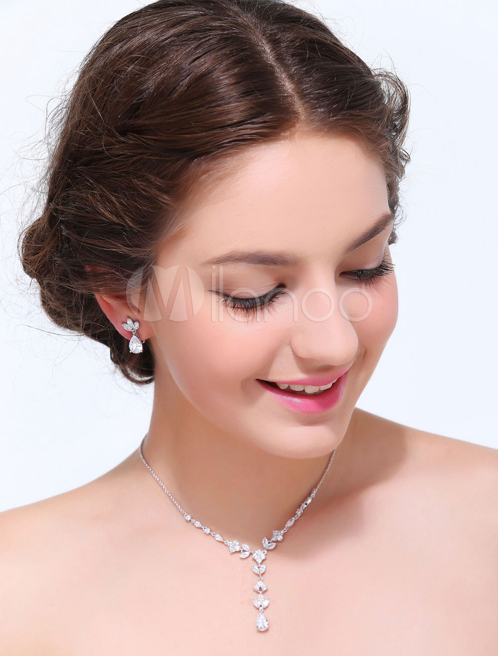Silver Geometric Alloy Wedding Jewelry Set