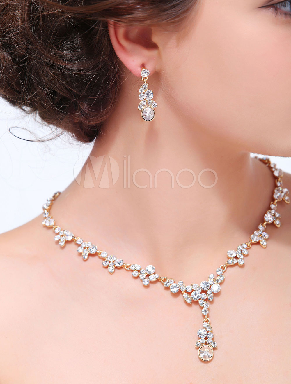 Buy Gold Geometric 2-Piece Alloy Wedding Jewelry Set for $19.94 in Milanoo store