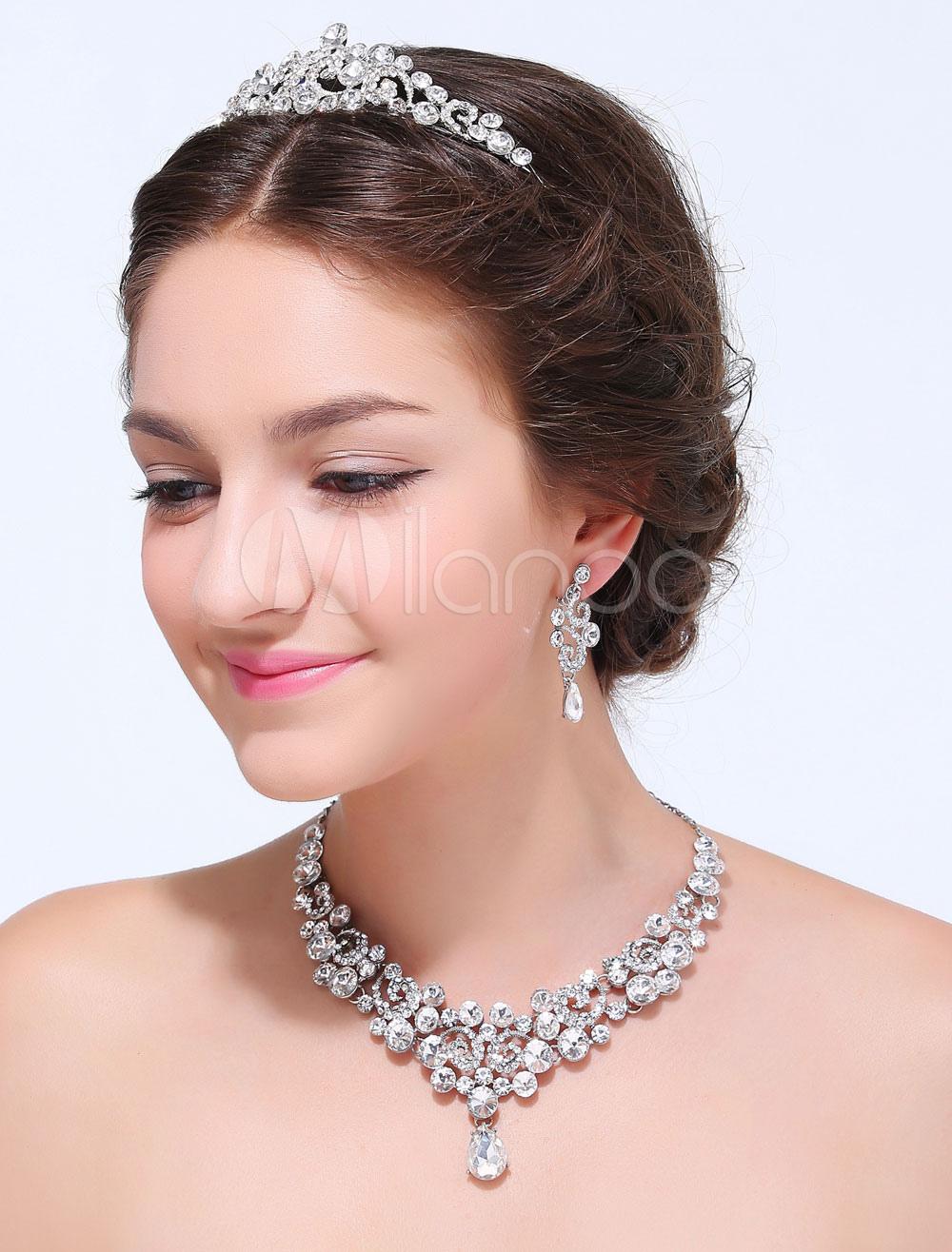 Silver Rhinestone Alloy Wedding Jewelry Set (3-Piece)